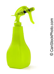 close up of green sprayer isolated on white background