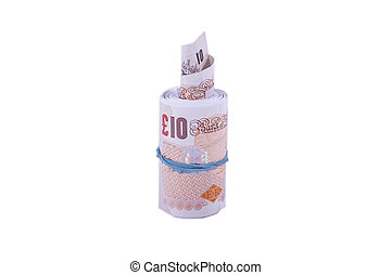 Roll of Cash - A roll of 10 pound notes