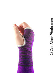 sling hand - sprained wrist wrapped in a elastic cloth for...
