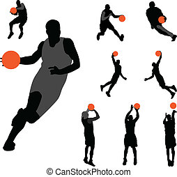 Basketball collection - Basketball silhouette collection...
