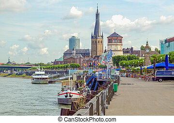 Duesseldorf, Germany - Duesseldorf panorama with river Rhein...