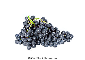 black wine grapes isolated on white background - fresh bunch...