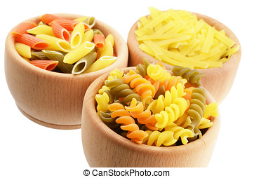 Wooden bowl of tricolor pasta isolated over white  background