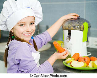 girl making fresh juice - smily cute girl making fresh apple...