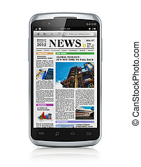 Smartphone with business news - Modern black glossy business...