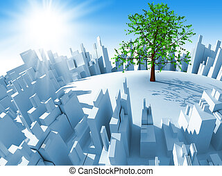 City - Abstract 3d megacity and one tree
