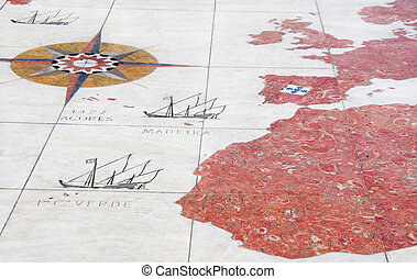 Old map on pavement, Belem district, Portugal