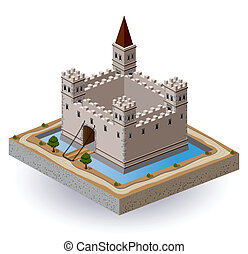 Castle - Isometric projection of the vector of a medieval...