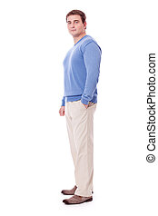 adult caucasian man in casual outfit isolated