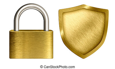 brass lock and shield isolated on white set