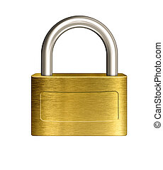 closed brass padlock illustration