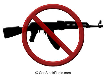 Ban on assault rifles - A rifle and a Not Allowed Symbol,...
