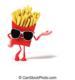 Food character - frensh fries - 3d rendered illustration of...