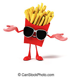 Food character - french fries - 3d rendered illustration of...