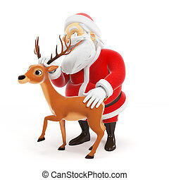 Santa claus with reindeer - 3d rendered illustration of a...