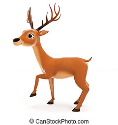 Cute reindeer - 3d rendered illustration of a cute reindeer