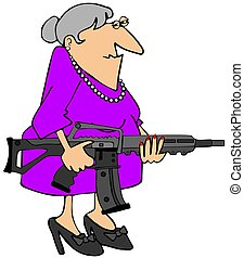 Grandma with an assault rifle - This illustration depicts an...