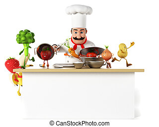 Kitchen chef and vegetables - 3d rendered illustration of a...