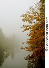 river view - a river on a foggy autumn morning