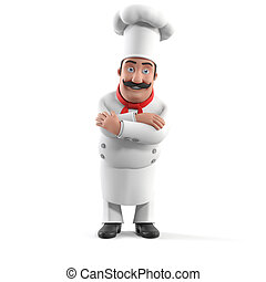 Kitchen chef - 3d rendered illustration of a kitchen chef