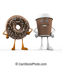 Food character coffee cup and donut - 3d rendered...