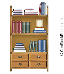 Vector bookcase with books and boxes