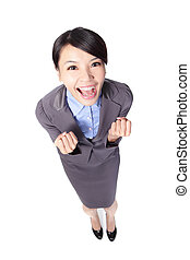 business woman smile and raise her arms - happy business...