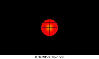 Red circle behind a lattice - The red circle on a black...