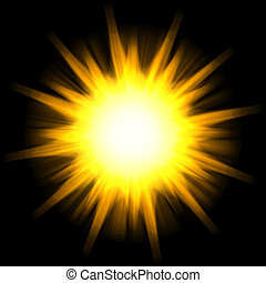 Solar Star Burst - A star burst or lens flare over a black...