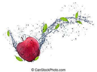 蘋果, 被隔离, 水, 飛濺, 背景, 白色, 紅色