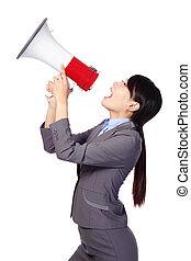 mujer, megáfono, estridente, empresa / negocio