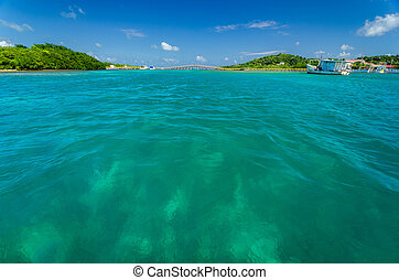 Turquoise Water and Bridge - View of beautiful Caribbean...