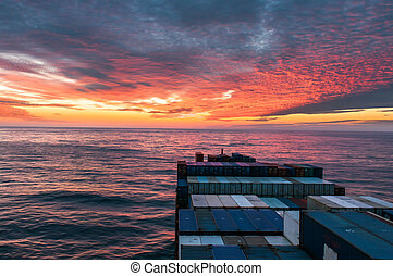 Sunset on the Pacific Ocean - Sunset from the bridge of a...