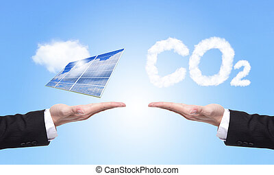choice solar panel or co2 - eco concept - choice solar panel...