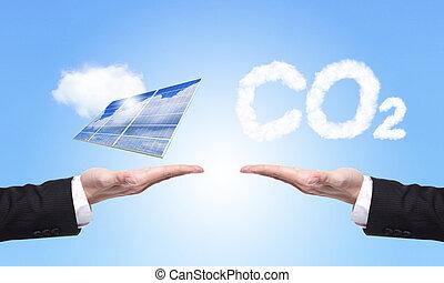 choice solar panel or co2 - eco concept - choice solar panel...
