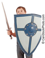 child  - A child with a knight's shield and dagger
