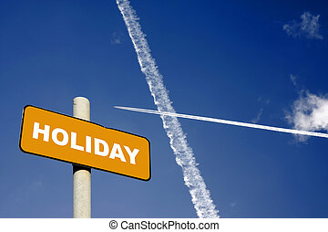 Holiday sign with jet trails in a dark blue sky - Holiday...