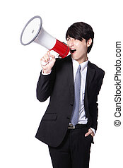 Business man screaming loudly in a megaphone