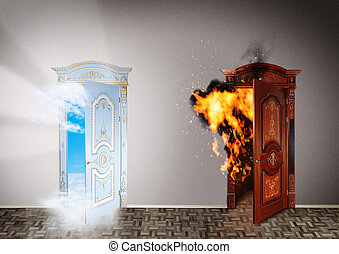 Two doors to heaven and hell. Choice concept.