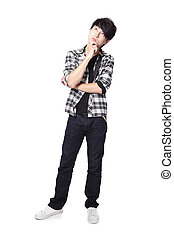 Casual young man thinking in full body isolated on white...