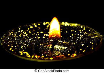 tea light with glitter