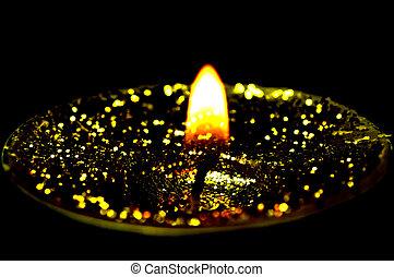 tea light with glitter
