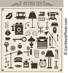 Vintage objects - A set of isolated vector vintage objects