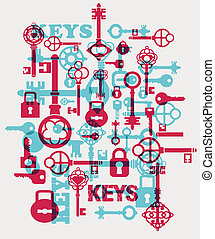 Vector keys - Vector fantasy with elements of keys and locks