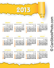 calendar 2013 with yellow torn paper