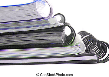 ring binders - a pile of metal ring binder notebooks