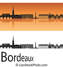 Bordeaux skyline in orange background in editable vector...