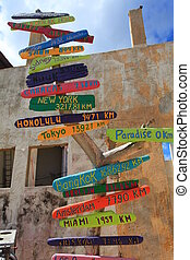 milage signs at bonaire