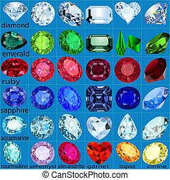 set of precious stones of different cuts and colors -...