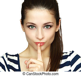 Secret woman. Female showing hand silence sign isolated on...